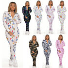 NEW Stylish Women's Long Sleeves Zipper Colorful Printed Bodycon Jumpsuit Club