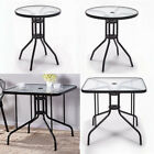 Glass Patio Coffee Dining Table Square/round Stand Outdoor Garden Dinner Bistro