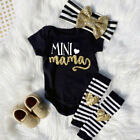 3PCS Newborn Infant Baby Girls Letter Romper Jumpsuit Headband Outfits Clothes