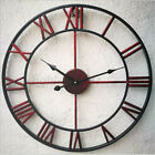 3D 15.75 Vintage Roman Retro Metal Wall Clock Hollow Iron Mute Watch Dial   o