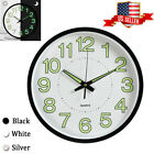 12'' Wall Clock Luminous Glow Round Silent Classic For Bedroom Living Office USA