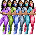 Fashion New Women Tie Dye Print Short Sleeves O Neck Skinny Stacked Pants Set