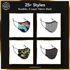 Fabric Face Mask Reusable 25 Fashion Designs/Style w/ Dual Layer Cotton Cloth