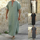 Men Arab Muslim Long Robe Middle East Islamic Thobe Kaftan Robes Jubba Gowns