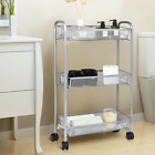 3-Tier Mesh Rolling Cart Mobile Organizer Stand Utility Cart Trolley Solid New