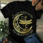 Crescent Moon Dragonfly Hello Darkness My Old Friend Men T-Shirt Black Cotton;
