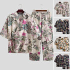 Mens Cotton Linen Japanese Floral Kimono Pants Pajamas Set Sleepwear Lounge Suit