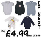 BABY ROMPERS BOYS GIRLS ONE PIECE OUTFITS EX UK STORE 0-24M 6 STYLES COTTON NEW