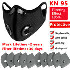 Face Mask Mouth Covers & Breathing Valve+activated Carbon Filter Pad Washable