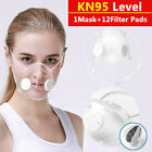 Reusable Transparent Mask W/ 12pcs Filters Respirator Valve Visible Mouth Masks