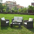 4 Piece Rattan Garden Furniture Set Patio Sofa Table & Chair Beige/ Grey Cushion