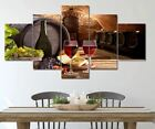 Grape Wine Bottle Wine Cellar 5 Pcs Canvas Wall Art Painting Poster Home Decor  photo