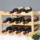 3 Layers Wooden Wine Rack 12 Bottles Storage Shelf Home Bar Cabine