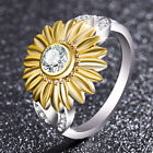 Lady Crystal 18K Gold Plated Hollow Flower Ring Sunflower Jewelry Gift Size 6-12