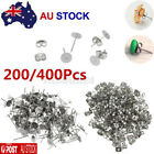 200/400 Pcs Earring Stud Posts 6mm Pads & Nut Backs Silvery Surgical Steel Diy