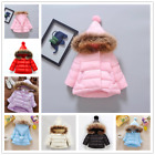 Baby Toddler Girls Winter Cute Hooded Cotton Padded Coat Jacket Thick Outerwear