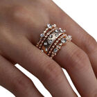 Elegant 5pcs/set Crystal Rose Gold Stackable Ring 5 Sparkly Rings Boho Jewelry