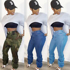 NEW Stylish Women Patchwork Casual Long Stacked Jeans Club Denim Pants Bottom