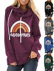 3005-1 Good vibes rainbow printed drawstring Hoodie Pullover for women S-2XL