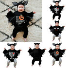 Toddler Baby Boys Girls Halloween Cosplay Bat Costume Romper Hat Outfits Set US