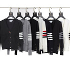 THOM-BROWNE Classic Men Women Casual Cardigan Slim Sweatshirt Knitting Sweater