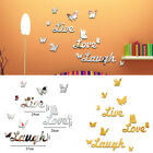 3d Love Butterfly Mirror Wall Sticker Decals Stick On Art Home Bathroom Decor Uk