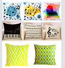Throw Pillow Covers Musical Notes Yellow Cushion Cases Geometric Set Of 3 2 1