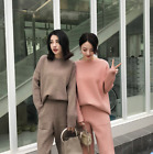 Womens Cashmere Knitted Sweater Straight Pants 2Pcs Winter Thick Warm Suit Chic