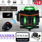 360° 4D 16 Lines Rotary Laser Level Green Beam Auto Self Leveling Measure Tool