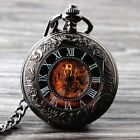 Pocket Watch men Mechanical White Face silver Gold Vintage Chain Hand-winding