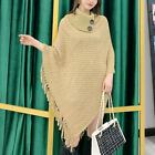 Lady Cape Knitted Poncho Sweater Loose Tassel Turtleneck Shawl Blanket Winter