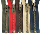"YKK #10 Antique Brass Metal Separating Zippers Extra Heavy Duty Jacket 7"" - 36"""