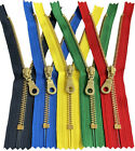 """YKK #5 Brass Metal Donut Pull Zippers for Sewing Bags Craft Closed-End 4"""" to 6"""""""