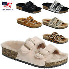 New Faux Fur Lining Slide Buckle Double Strap Flat Molded Footbed Slipper Sandal