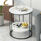 2 Tier Round Coffee Tea Table Sofa Side End Table Home Decor Furniture Storage