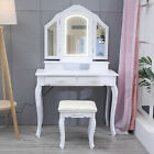 Vanity Beauty Station Makeup Table And Wooden Stool 3 Mirrors With LED Lights US