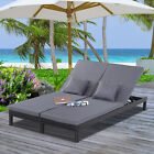 2 Person Rattan Lounger Adjustable Double Chaise Chair Loveseat w/ Cushion