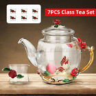 7Pcs Enamel Glass Flower Tea Pot Cup Set Heat Resistant TeaPot Coffee Beer Mug