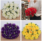 18 Heads Fake Silk Rose Artificial Flowers Bouquet Wedding Home Party Decoration