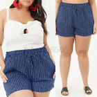 Womens Casual Striped Oversized Trousers High Waist Short Pants Hot Pants Shorts