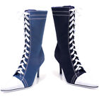 Chuck Taylor Sneaker Mid Calf Lace Up Heel Ankle Heels Shoes 457-TAYLOR-BLUE