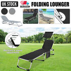 Foldable Sun Lounger Adjustable Back Rest Garden Patio Recliner Chair W/Sunshade