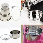 Stainless Steel Hang on Bowl For Pet Dog Cat Crate Cage Food Water Feed Bowl