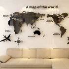 Acrylic 3d Map Of World Smooth Solid Crystal Wall Sticker Home Office Room Decor