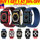 Braided Nylon Solo Loop Band Strap For Apple Watch Series 6 5 4 3 Se 38/40/44 Mm