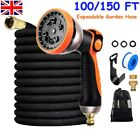 100-150FT Extra Long Retractable Expandable Home Garden Hose Pipe & Spray Gun