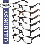 Reading Glasses Mens 6 Pack Readers Assorted Styles Classic Daily Glasses New