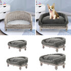 Wicker Dog Pet Bed Basket Sofa Puppy Cat Willow Rattan Raised Bed Furniture Grey