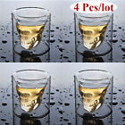 4 Pcs Skull Head Wine Glass Mug Crystal Beer Whiskey Shot Double Glass