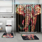 US Africa Elephant Shower Curtain Anti-Slip Bath Pedestal Rug Lid Toilet Cover